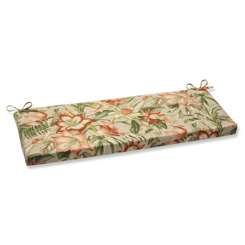 Tan Outdoor Botanical Glow Tiger Stripe Bench Cushion