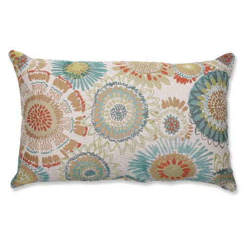 Pillow Perfect Maggie Mae Aqua Multi-Colored Rectangular Throw Pillow
