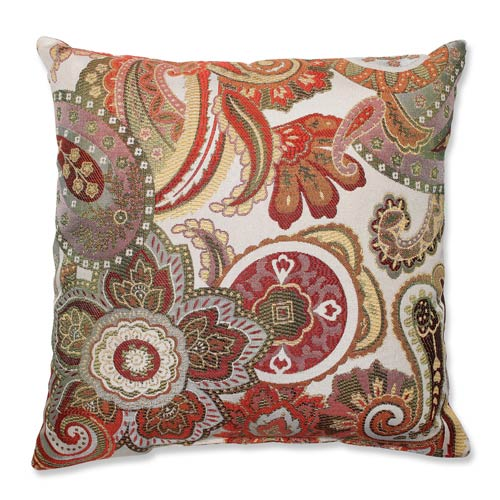 Crazy Rosewood Red and Green 16.5-Inch Square Throw Pillow