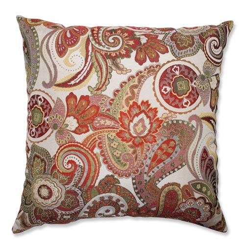 Crazy Rosewood Red and Green 24.5-Inch Square Floor Pillow