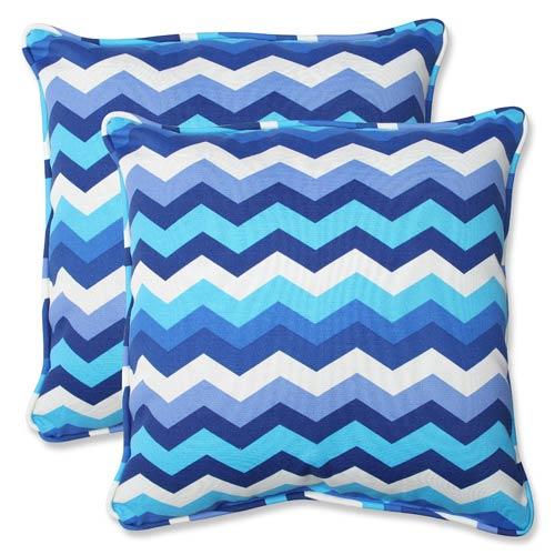 Pillow Perfect Blue Outdoor Panama Wave Azure 18.5-inch Throw Pillow, Set of 2