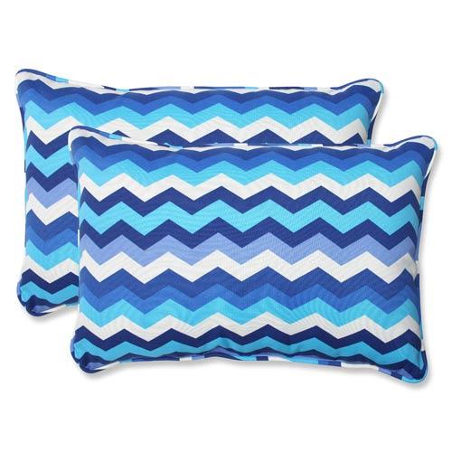 Pillow Perfect Blue Outdoor Panama Wave Azure Over-sized Rectangular Throw Pillow, Set of 2
