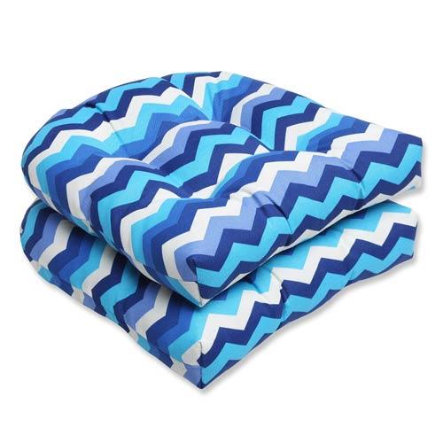 Blue Outdoor Panama Wave Azure Wicker Seat Cushion, Set of 2