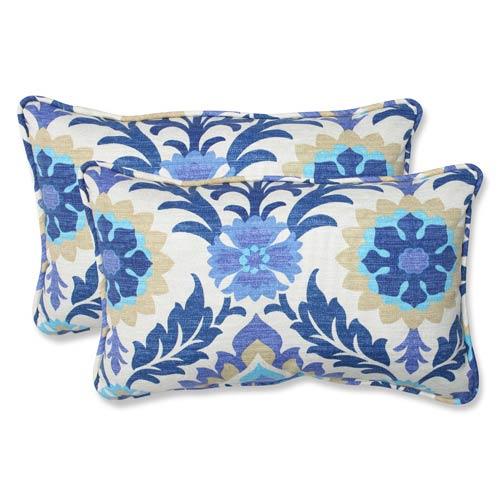 Pillow Perfect Blue Outdoor Santa Maria Azure Rectangular Throw Pillow, Set of 2