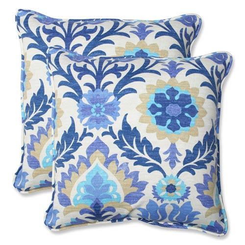 Blue Outdoor Santa Maria Azure 18.5-Inch Throw Pillow, Set of 2