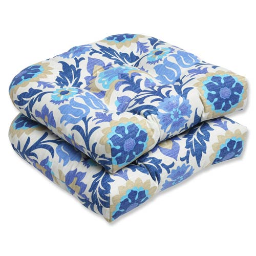 Pillow Perfect Blue Outdoor Santa Maria Azure Wicker Seat Cushion, Set of 2
