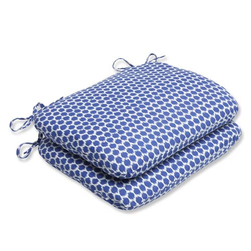 Pillow Perfect Blue Outdoor Seeing Spots Navy Rounded Corners Seat Cushion, Set of 2