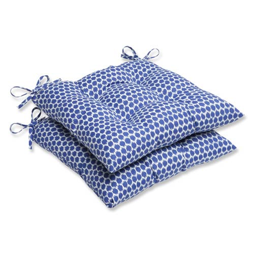Blue Outdoor Seeing Spots Navy Wrought Iron Seat Cushion, Set of 2