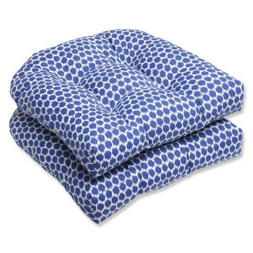 Pillow Perfect Blue Outdoor Seeing Spots Navy Wicker Seat Cushion, Set of 2
