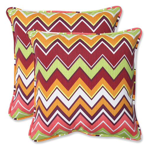 Green and Pink Outdoor Zig Zag Raspberry 18.5-inch Throw Pillow, Set of 2