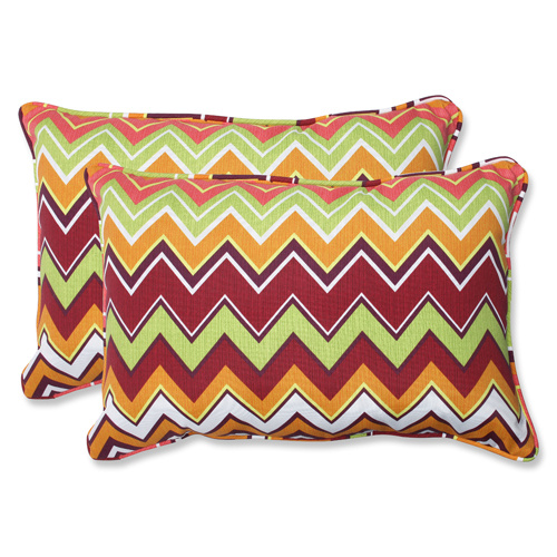 Pillow Perfect Green and Pink Outdoor Zig Zag Raspberry Over-sized Rectangular Throw Pillow, Set of 2