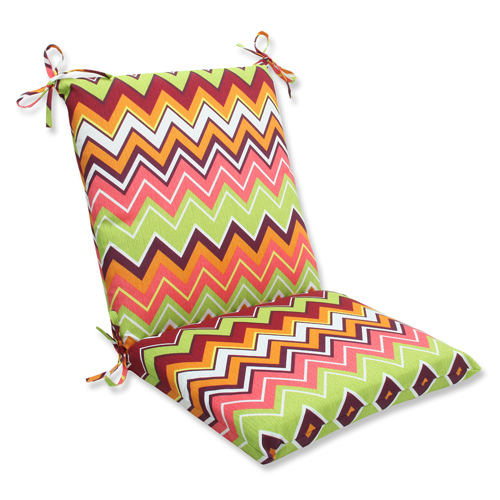 Green and Pink Outdoor Zig Zag Raspberry Squared Corners Chair Cushion