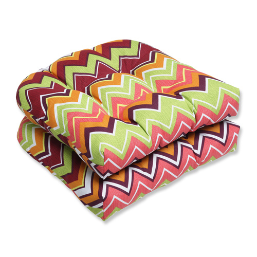 Green and Pink Outdoor Zig Zag Raspberry Wicker Seat Cushion, Set of 2