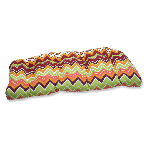 Pillow Perfect Green and Pink Outdoor Zig Zag Raspberry Wicker Loveseat Cushion