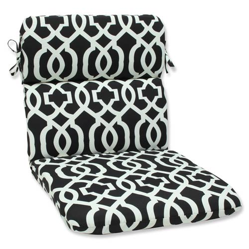 Black and White Outdoor New Geo Black and White Rounded Corners Chair Cushion