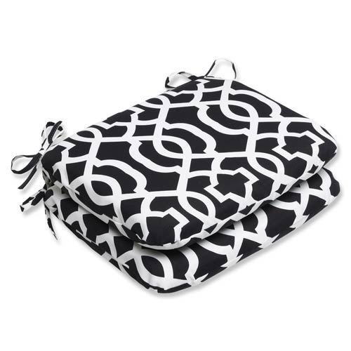 Pillow Perfect Black and White Outdoor New Geo Black and White Rounded Corners Seat Cushion, Set of 2