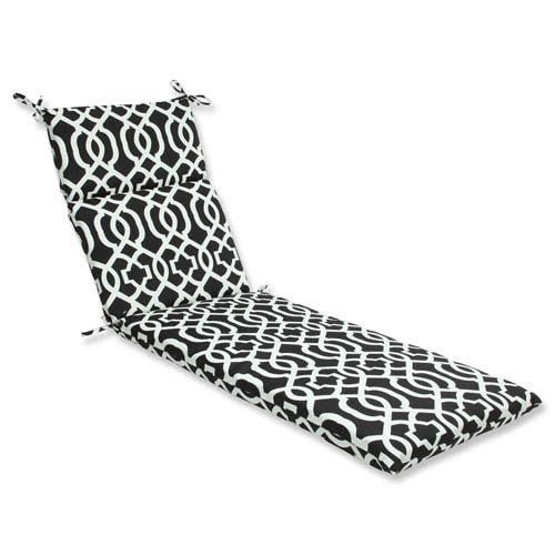 Pillow Perfect Outdoor / Indoor New Geo Black/White Chaise Lounge Cushion