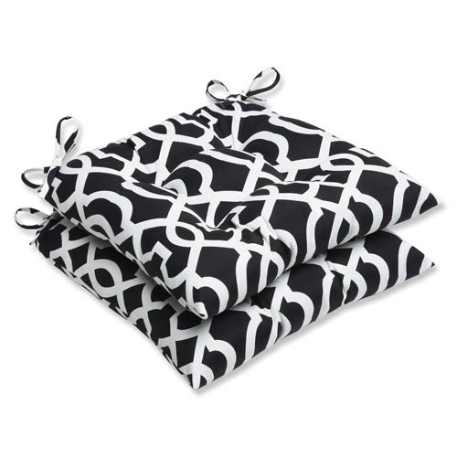 Black And White Outdoor New Geo Black And White Wrought Iron Seat Cushion,  Set Of