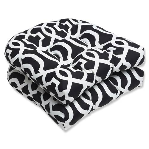 Black and White Outdoor New Geo Black and White Wicker Seat Cushion, Set of 2