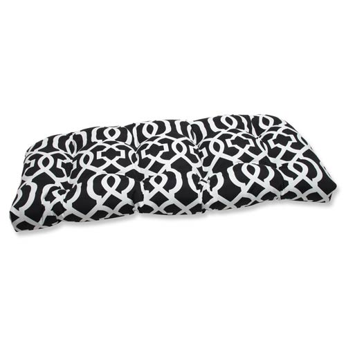 Pillow Perfect Black and White Outdoor New Geo Black and White Wicker Loveseat Cushion