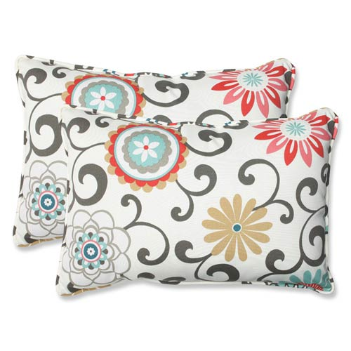 Blue and Brown Outdoor Pom Pom Play Peachtini Over-sized Rectangular Throw Pillow, Set of 2