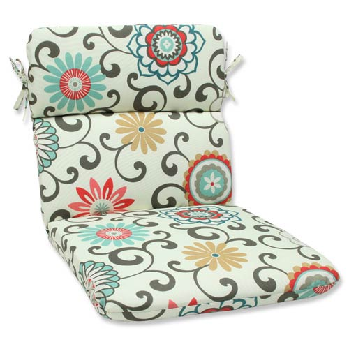 Blue and Brown Outdoor Pom Pom Play Peachtini Rounded Corners Chair Cushion