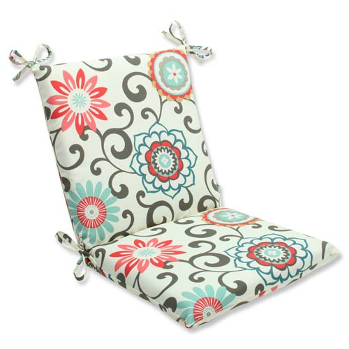 Blue and Brown Outdoor Pom Pom Play Peachtini Squared Corners Chair Cushion