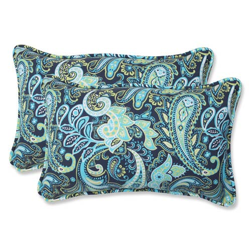 Blue and Green Outdoor Pretty Paisley Navy Rectangular Throw Pillow, Set of 2