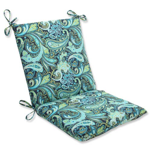 Blue and Green Outdoor Pretty Paisley Navy Squared Corners Chair Cushion
