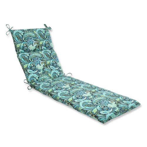 Pillow Perfect Outdoor / Indoor Pretty Paisley Navy Chaise Lounge Cushion