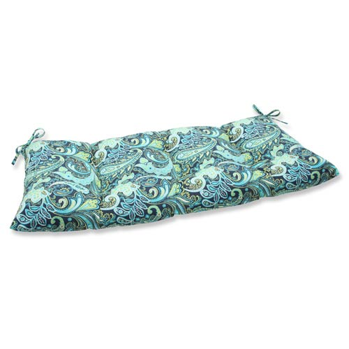 Pillow Perfect Blue and Green Outdoor Pretty Paisley Navy Wrought Iron Loveseat Cushion
