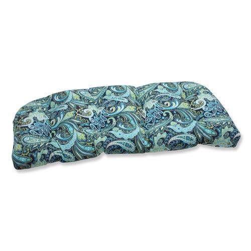 Blue and Green Outdoor Pretty Paisley Navy Wicker Loveseat Cushion