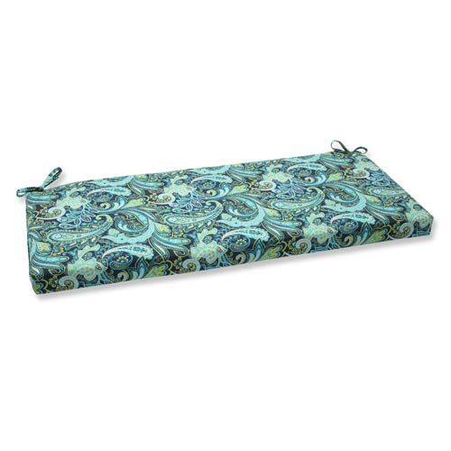 Pillow Perfect Blue and Green Outdoor Pretty Paisley Navy Bench Cushion