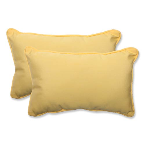 Canvas Yellow Rectangular Throw Pillow Sunbrella Fabric, Set of 2