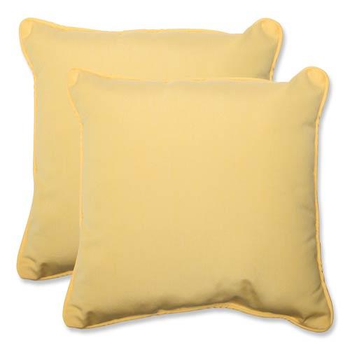 Canvas Yellow Square 18.5-Inch Throw Pillow Sunbrella Fabric, Set of 2