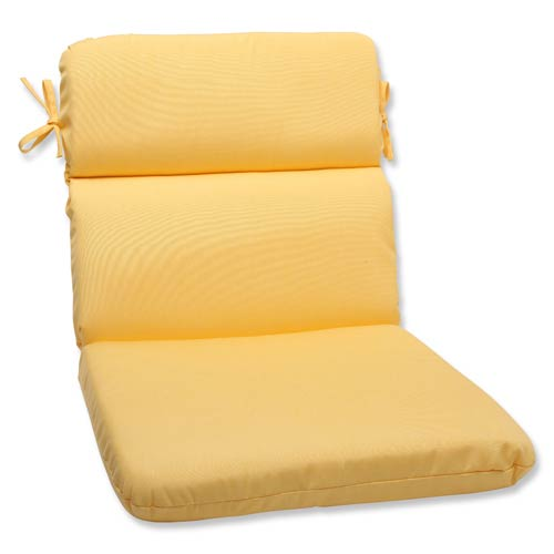 Pillow Perfect Canvas Yellow Rounded Corner Chair Cushion with Sunbrella Fabric