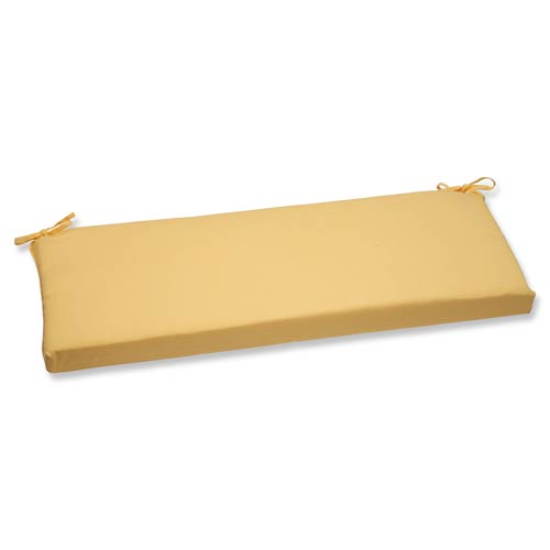 Pillow Perfect Canvas Yellow Bench Cushion with Sunbrella Fabric