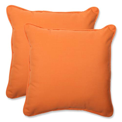 Canvas Orange Square 18.5-Inch Throw Pillow Sunbrella Fabric, Set of 2