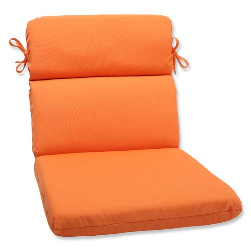 Pillow Perfect Canvas Tangerine Orange Rounded Corner Chair Cushion with Sunbrella Fabric