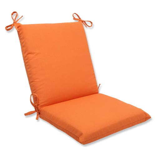 Pillow Perfect Canvas Orange Squared Corner Chair Cushion with Sunbrella Fabric