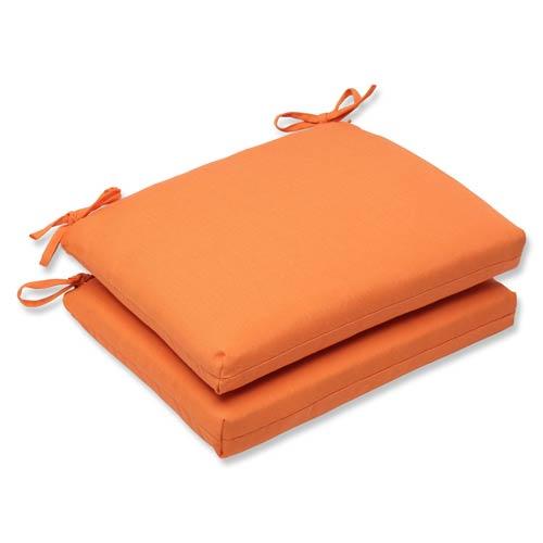 Pillow Perfect Canvas Tangerine Orange Squared Corner Seat Cushion with Sunbrella Fabric, Set of 2