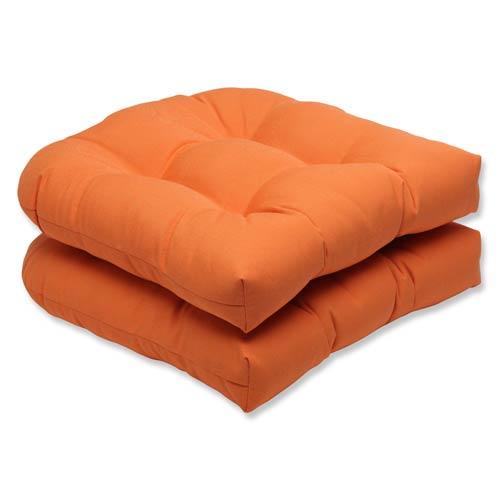 Canvas Orange Wicker Seat Cushion with Sunbrella Fabric, Set of 2