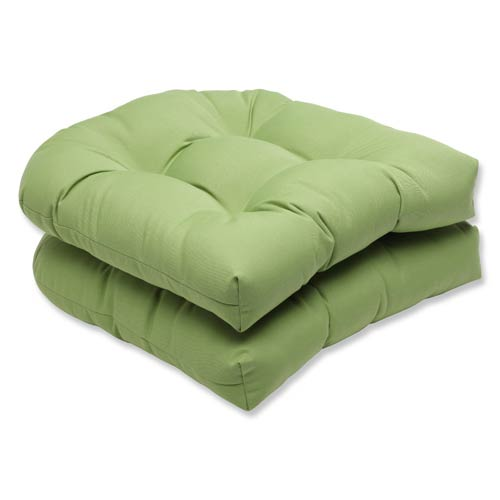 Canvas Green Wicker Seat Cushion with Sunbrella Fabric, Set of 2