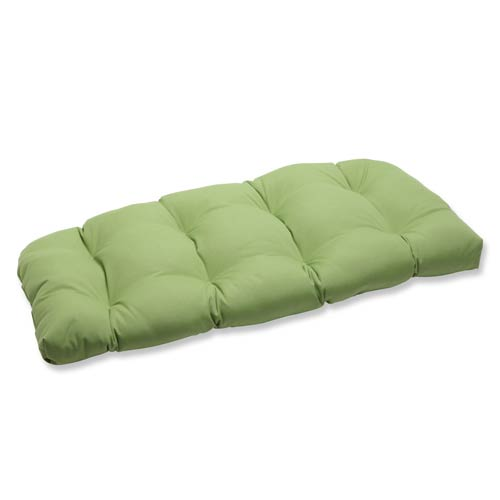 Pillow Perfect Canvas Green Wicker Loveseat Cushion with Sunbrella Fabric