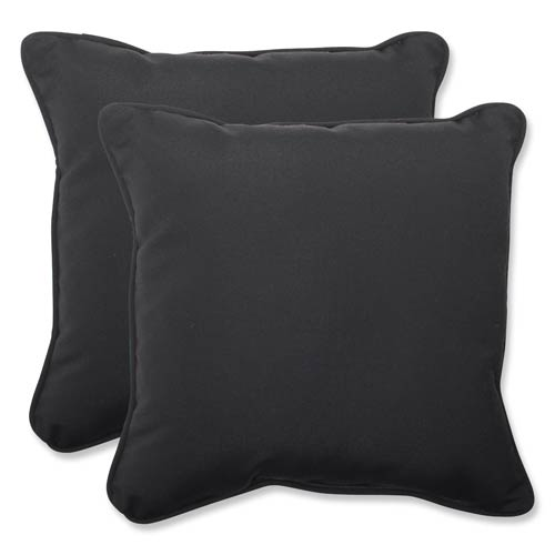 Pillow Perfect Canvas Black Square 18.5-Inch Throw Pillow Sunbrella Fabric, Set of 2