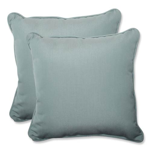 Canvas Blue Square 18.5-Inch Throw Pillow Sunbrella Fabric, Set of 2