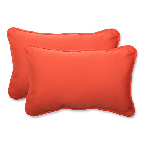 Pillow Perfect Canvas Orange Rectangular Throw Pillow Sunbrella Fabric, Set of 2