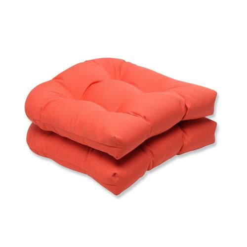 Canvas Tangerine Orange Wicker Seat Cushion with Sunbrella Fabric, Set of 2