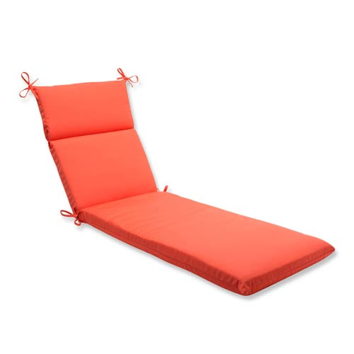 Pillow Perfect Canvas Orange Outdoor Chaise Lounge Cushion with Sunbrella Fabric