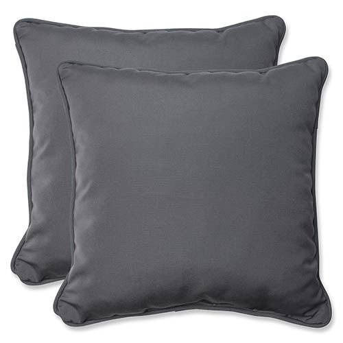Pillow Perfect Canvas Charcoal Outdoor 18.5-Inch Throw Pillow with Sunbrella Fabric, Set of Two